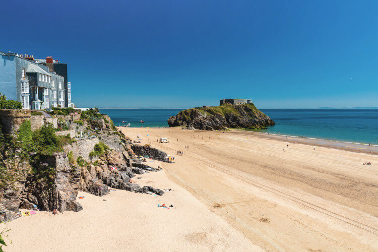 Castle Beach Tenby and St Catherine's Island