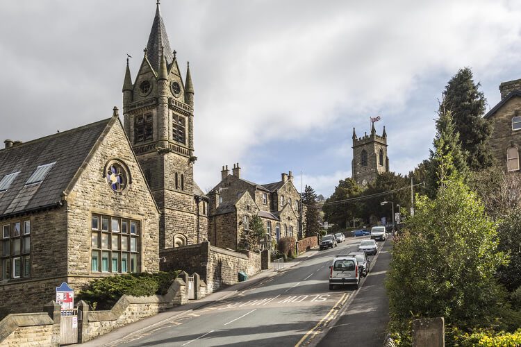 Main street and church in Pateley Bridge, Yorkshire
