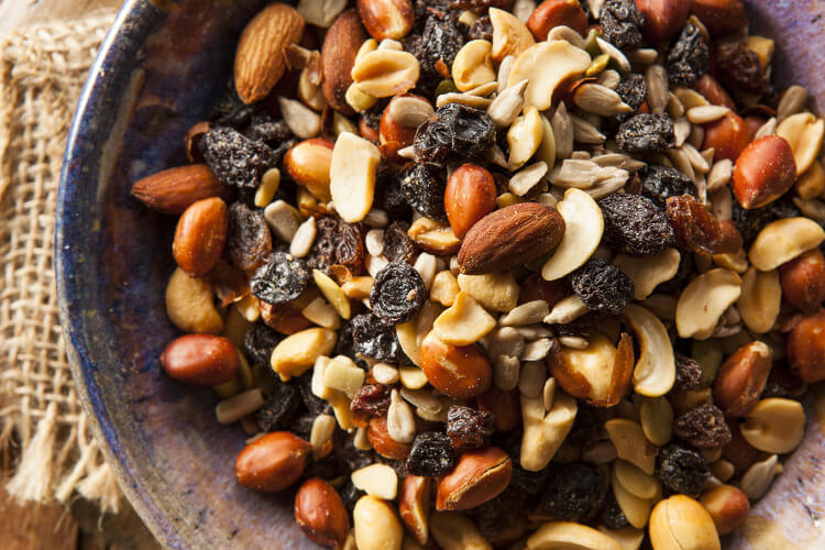 A bowl of trail mix - mix of dried fruits and nuts