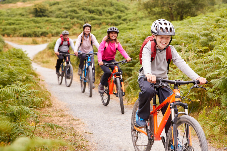 Family cycling in Yorkshire